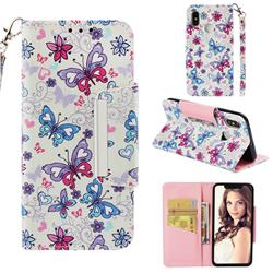 Colored Butterfly Big Metal Buckle PU Leather Wallet Phone Case for Xiaomi Mi 8