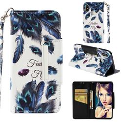 Peacock Feather Big Metal Buckle PU Leather Wallet Phone Case for Xiaomi Mi 8