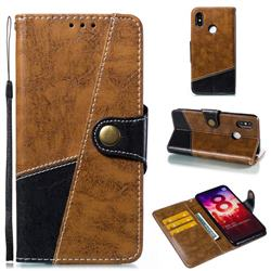 Retro Magnetic Stitching Wallet Flip Cover for Xiaomi Mi 8 - Brown