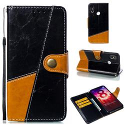 Retro Magnetic Stitching Wallet Flip Cover for Xiaomi Mi 8 - Black