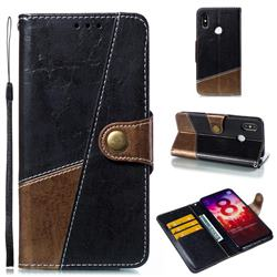 Retro Magnetic Stitching Wallet Flip Cover for Xiaomi Mi 8 - Dark Gray