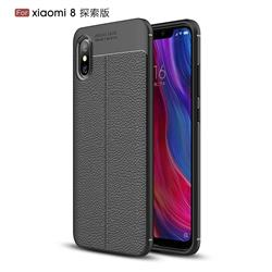Luxury Auto Focus Litchi Texture Silicone TPU Back Cover for Xiaomi Mi 8 Explorer - Black