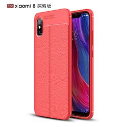 Luxury Auto Focus Litchi Texture Silicone TPU Back Cover for Xiaomi Mi 8 Explorer - Red