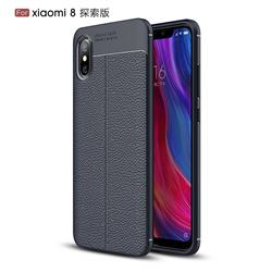 Luxury Auto Focus Litchi Texture Silicone TPU Back Cover for Xiaomi Mi 8 Explorer - Dark Blue