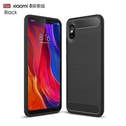 Luxury Carbon Fiber Brushed Wire Drawing Silicone TPU Back Cover for Xiaomi Mi 8 Explorer - Black