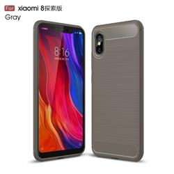 Luxury Carbon Fiber Brushed Wire Drawing Silicone TPU Back Cover for Xiaomi Mi 8 Explorer - Gray