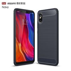 Luxury Carbon Fiber Brushed Wire Drawing Silicone TPU Back Cover for Xiaomi Mi 8 Explorer - Navy