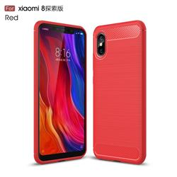 Luxury Carbon Fiber Brushed Wire Drawing Silicone TPU Back Cover for Xiaomi Mi 8 Explorer - Red