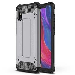 King Kong Armor Premium Shockproof Dual Layer Rugged Hard Cover for Xiaomi Mi 8 Explorer - Silver Grey
