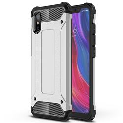 King Kong Armor Premium Shockproof Dual Layer Rugged Hard Cover for Xiaomi Mi 8 Explorer - Technology Silver