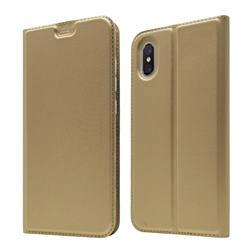 Ultra Slim Card Magnetic Automatic Suction Leather Wallet Case for Xiaomi Mi 8 Explorer - Champagne