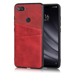 Simple Calf Card Slots Mobile Phone Back Cover for Xiaomi Mi 8 Lite / Mi 8 Youth / Mi 8X - Red