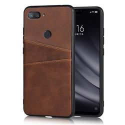 Simple Calf Card Slots Mobile Phone Back Cover for Xiaomi Mi 8 Lite / Mi 8 Youth / Mi 8X - Coffee