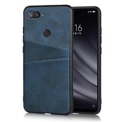 Simple Calf Card Slots Mobile Phone Back Cover for Xiaomi Mi 8 Lite / Mi 8 Youth / Mi 8X - Blue