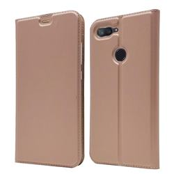 Ultra Slim Card Magnetic Automatic Suction Leather Wallet Case for Xiaomi Mi 8 Lite / Mi 8 Youth / Mi 8X - Rose Gold