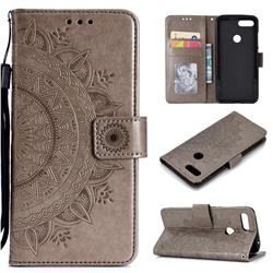 Intricate Embossing Datura Leather Wallet Case for Xiaomi Mi 8 Lite / Mi 8 Youth / Mi 8X - Gray