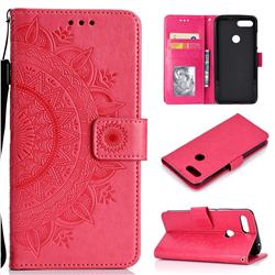 Intricate Embossing Datura Leather Wallet Case for Xiaomi Mi 8 Lite / Mi 8 Youth / Mi 8X - Rose Red