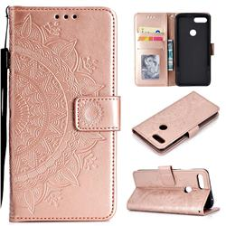 Intricate Embossing Datura Leather Wallet Case for Xiaomi Mi 8 Lite / Mi 8 Youth / Mi 8X - Rose Gold