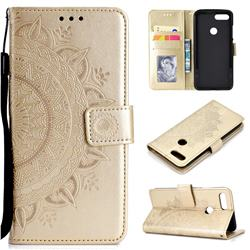Intricate Embossing Datura Leather Wallet Case for Xiaomi Mi 8 Lite / Mi 8 Youth / Mi 8X - Golden