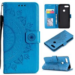 Intricate Embossing Datura Leather Wallet Case for Xiaomi Mi 8 Lite / Mi 8 Youth / Mi 8X - Blue