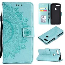 Intricate Embossing Datura Leather Wallet Case for Xiaomi Mi 8 Lite / Mi 8 Youth / Mi 8X - Mint Green