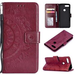 Intricate Embossing Datura Leather Wallet Case for Xiaomi Mi 8 Lite / Mi 8 Youth / Mi 8X - Brown
