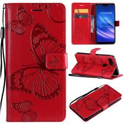 Embossing 3D Butterfly Leather Wallet Case for Xiaomi Mi 8 Lite / Mi 8 Youth / Mi 8X - Red