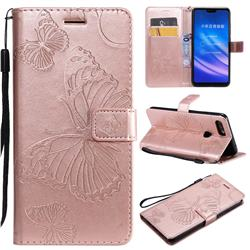 Embossing 3D Butterfly Leather Wallet Case for Xiaomi Mi 8 Lite / Mi 8 Youth / Mi 8X - Rose Gold