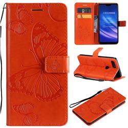 Embossing 3D Butterfly Leather Wallet Case for Xiaomi Mi 8 Lite / Mi 8 Youth / Mi 8X - Orange