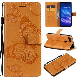 Embossing 3D Butterfly Leather Wallet Case for Xiaomi Mi 8 Lite / Mi 8 Youth / Mi 8X - Yellow