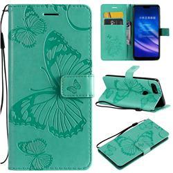 Embossing 3D Butterfly Leather Wallet Case for Xiaomi Mi 8 Lite / Mi 8 Youth / Mi 8X - Green