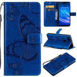 Embossing 3D Butterfly Leather Wallet Case for Xiaomi Mi 8 Lite / Mi 8 Youth / Mi 8X - Blue