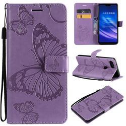 Embossing 3D Butterfly Leather Wallet Case for Xiaomi Mi 8 Lite / Mi 8 Youth / Mi 8X - Purple