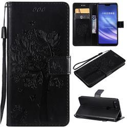 Embossing Butterfly Tree Leather Wallet Case for Xiaomi Mi 8 Lite / Mi 8 Youth / Mi 8X - Black