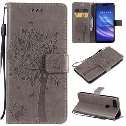 Embossing Butterfly Tree Leather Wallet Case for Xiaomi Mi 8 Lite / Mi 8 Youth / Mi 8X - Grey