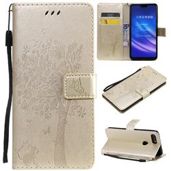 Embossing Butterfly Tree Leather Wallet Case for Xiaomi Mi 8 Lite / Mi 8 Youth / Mi 8X - Champagne