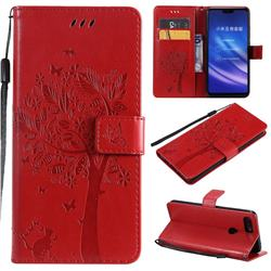 Embossing Butterfly Tree Leather Wallet Case for Xiaomi Mi 8 Lite / Mi 8 Youth / Mi 8X - Red