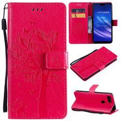 Embossing Butterfly Tree Leather Wallet Case for Xiaomi Mi 8 Lite / Mi 8 Youth / Mi 8X - Rose