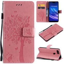 Embossing Butterfly Tree Leather Wallet Case for Xiaomi Mi 8 Lite / Mi 8 Youth / Mi 8X - Pink