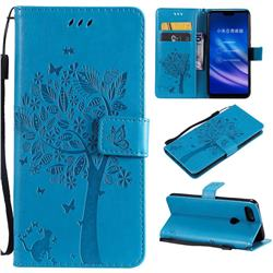 Embossing Butterfly Tree Leather Wallet Case for Xiaomi Mi 8 Lite / Mi 8 Youth / Mi 8X - Blue