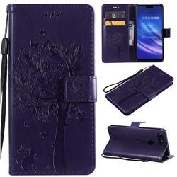 Embossing Butterfly Tree Leather Wallet Case for Xiaomi Mi 8 Lite / Mi 8 Youth / Mi 8X - Purple