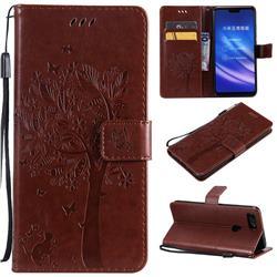 Embossing Butterfly Tree Leather Wallet Case for Xiaomi Mi 8 Lite / Mi 8 Youth / Mi 8X - Coffee