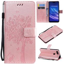 Embossing Butterfly Tree Leather Wallet Case for Xiaomi Mi 8 Lite / Mi 8 Youth / Mi 8X - Rose Pink