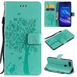 Embossing Butterfly Tree Leather Wallet Case for Xiaomi Mi 8 Lite / Mi 8 Youth / Mi 8X - Cyan
