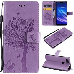 Embossing Butterfly Tree Leather Wallet Case for Xiaomi Mi 8 Lite / Mi 8 Youth / Mi 8X - Violet
