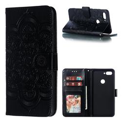 Intricate Embossing Datura Solar Leather Wallet Case for Xiaomi Mi 8 Lite / Mi 8 Youth / Mi 8X - Black