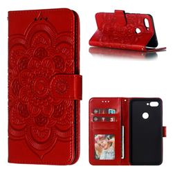 Intricate Embossing Datura Solar Leather Wallet Case for Xiaomi Mi 8 Lite / Mi 8 Youth / Mi 8X - Red