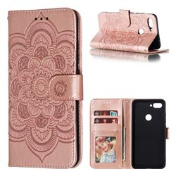Intricate Embossing Datura Solar Leather Wallet Case for Xiaomi Mi 8 Lite / Mi 8 Youth / Mi 8X - Rose Gold