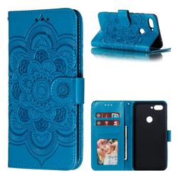 Intricate Embossing Datura Solar Leather Wallet Case for Xiaomi Mi 8 Lite / Mi 8 Youth / Mi 8X - Blue