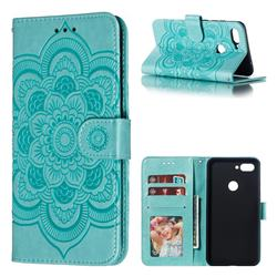 Intricate Embossing Datura Solar Leather Wallet Case for Xiaomi Mi 8 Lite / Mi 8 Youth / Mi 8X - Green